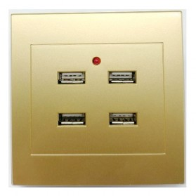 Stop Kontak Dinding 4 Port USB Wall Socket 3.5A - ES-USB-4 - Golden