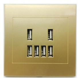 Stop Kontak Dinding 6 Port USB Wall Socket 3.5A - ES-USB-6 - Golden