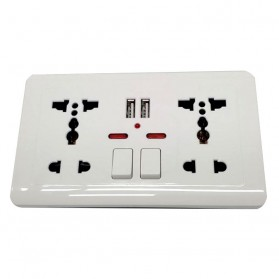 Wallpad Stop Kontak Universal UK EU US 2 Slot with 2 USB On/Off Switch - LC-86 - White