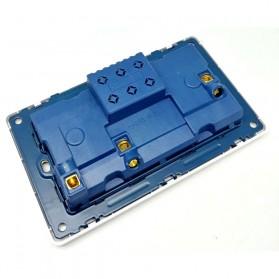 Wallpad Stop Kontak Universal UK EU US 2 Slot with 2 USB On/Off Switch - LC-86 - White - 2