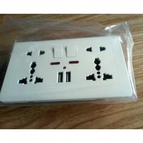 Wallpad Stop Kontak Universal UK EU US 2 Slot with 2 USB On/Off Switch - LC-86 - White - 3