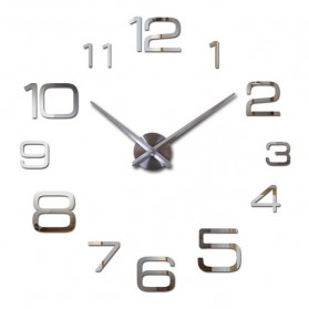 Jam Dinding Besar DIY Giant Wall Clock Quartz Creative Design 90cm Model Numeral - DIY-108 - Silver