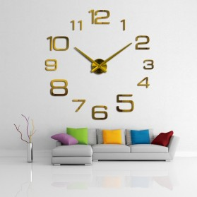 Jam Dinding Besar DIY Giant Wall Clock Quartz Creative Design 90cm Model Numeral - DIY-108 - Silver - 4