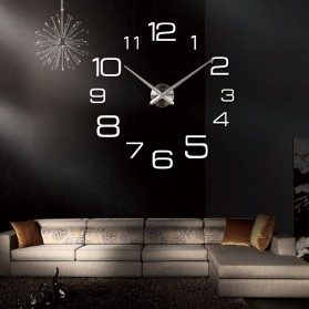 Jam Dinding Besar DIY Giant Wall Clock Quartz Creative Design 90cm Model Numeral - DIY-108 - Silver - 5