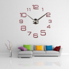 Jam Dinding Besar DIY Giant Wall Clock Quartz Creative Design 90cm Model Numeral - DIY-108 - Silver - 6
