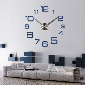 Jam Dinding Besar DIY Giant Wall Clock Quartz Creative Design 90cm Model Numeral - DIY-108 - Silver - 7