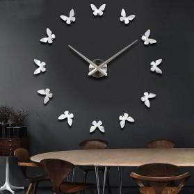 Jam Dinding 3D DIY Giant Wall Clock 120cm - Model Butterfly - 011 - Silver