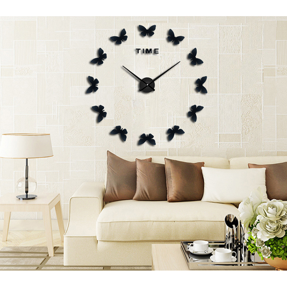 ... Search Tag Source Jam Dinding 3D DIY Giant Wall Clock 120cm Diameter  Model Butterfly b715c11141