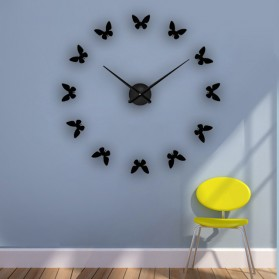 Jam Dinding Besar DIY Giant Wall Clock Quartz Creative Design 120cm Model Butterfly - DIY-205 - Black
