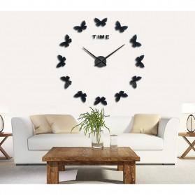 Jam Dinding Besar DIY Giant Wall Clock Quartz Creative Design 120cm Model Butterfly - DIY-205 - Black - 2