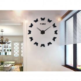 Jam Dinding Besar DIY Giant Wall Clock Quartz Creative Design 120cm Model Butterfly - DIY-205 - Black - 3