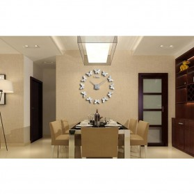 Jam Dinding Besar DIY Giant Wall Clock Quartz Creative Design 120cm Model Butterfly - DIY-205 - Black - 10
