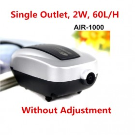 Resun Pompa Aerator Kompresor Udara Aquarium 2W - AIR-1000 - Silver Black