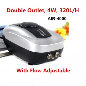 RESUN Pompa Aerator Kompresor Udara Aquarium 4W - AIR-4000 - Silver Black