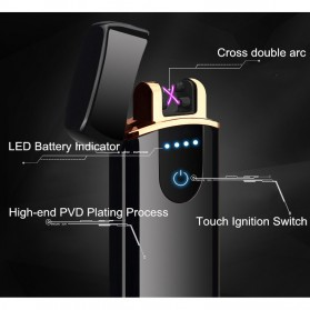 Taffware Korek Api Elektrik Pulse Plasma Cross Double Arc Lighter - ZC1801 - Black - 4