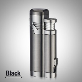 Korek Api Elektrik Pulse Plasma Double Arc USB Lighter with Cigar Cutter - F000241 - Black