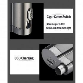 Korek Api Elektrik Pulse Plasma Double Arc USB Lighter with Cigar Cutter - F000241 - Black - 7