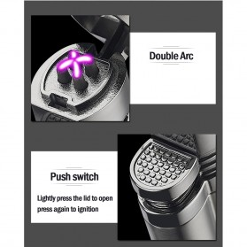 Korek Api Elektrik Pulse Plasma Double Arc USB Lighter with Cigar Cutter - F000241 - Black - 8