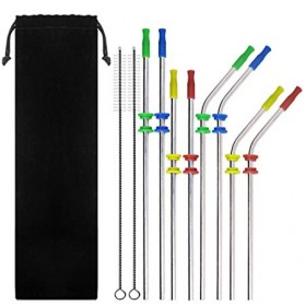 Sedotan Stainless Steel Bending Straw Capillary 8 PCS - BA010 - Silver - 1