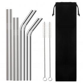 Sedotan Stainless Steel Bending Straw Capillary 8 PCS - BA010 - Silver - 2