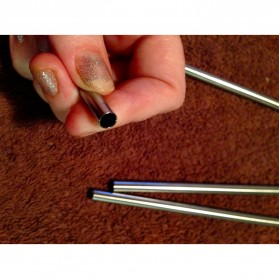 Sedotan Stainless Steel Bending Straw Capillary 8 PCS - BA010 - Silver - 4