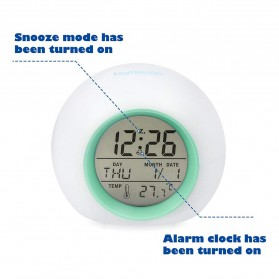 Jam Alarm Digital Sensor Temperature LED RGB Night Light- JL-C018 - White - 2