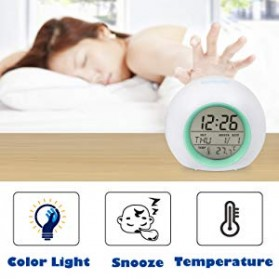Jam Alarm Digital Sensor Temperature LED RGB Night Light- JL-C018 - White - 7