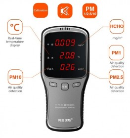 Air Quality Formaldehyde Detector Sensor PM1.0 PM2.5 PM10 HCHO - WP6910 - Black - 1