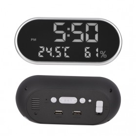 Jam Weker Alarm Humidity Hygrometer Temperature LED Desk Clock - DS1302 - Gray - 2