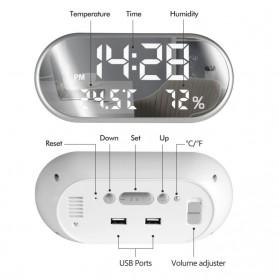 Jam Weker Alarm Humidity Hygrometer Temperature LED Desk Clock - DS1302 - Gray - 3