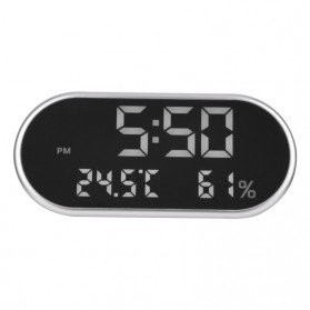 Jam Weker Alarm Humidity Hygrometer Temperature LED Desk Clock - DS1302 - Gray - 5