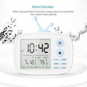 Jam Weker Alarm LED Weather Station Thermometer Model TV - LJA-001 - White - 2