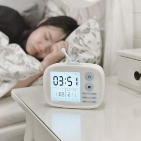 Jam Weker Alarm LED Weather Station Thermometer Model TV - LJA-001 - White - 3