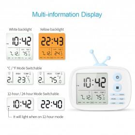 Jam Weker Alarm LED Weather Station Thermometer Model TV - LJA-001 - White - 4