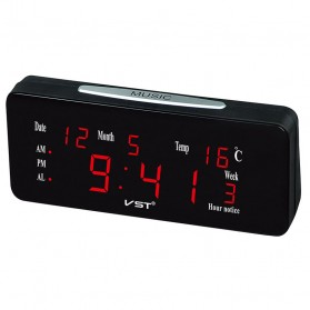 Mirosa Jam Weker Alarm Meja LED Calendar Temperatur - VST-763WX - Black