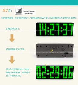 Jam Weker Alarm Temperature LED 6 Bit Desk Clock - F0350 - Black - 3