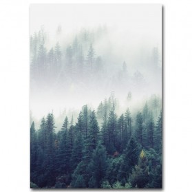 Poster Lukisan Canvas Nordic Forest Landscape Wall Art 50x70cm - 1
