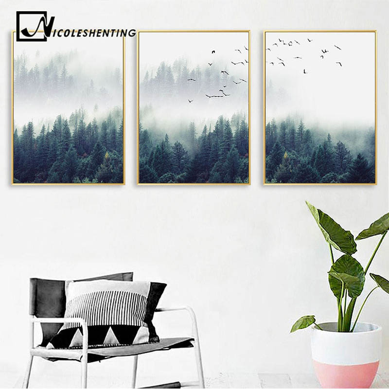 Poster Lukisan Canvas Nordic Forest Landscape Wall Art 50x70cm Jakartanotebook Com