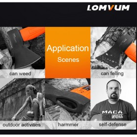Lomvum Kapak Pemotong Kayu Fiber Handle - LVFT01001 - Black/Orange - 8