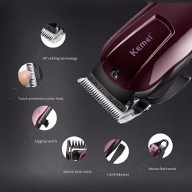 Kemei Alat Cukur Elektrik Hair Trimmer Shaver - KM-2600 - Red - 5