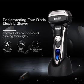 Kemei Alat Cukur Jenggot Elektrik Hair Trimmer Shaver 4 Blades - KM-5568 - Black - 2