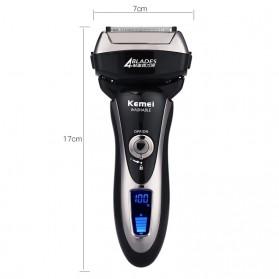 Kemei Alat Cukur Jenggot Elektrik Hair Trimmer Shaver 4 Blades - KM-5568 - Black - 9