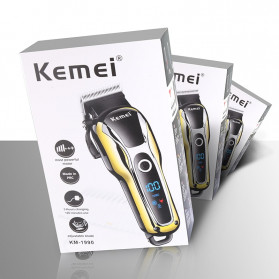 Kemei Alat Cukur Elektrik Hair Trimmer Shaver Rechargeable - KM-1990 - Golden - 5