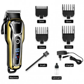 Kemei Alat Cukur Elektrik Hair Trimmer Shaver Rechargeable - KM-1990 - Golden - 6
