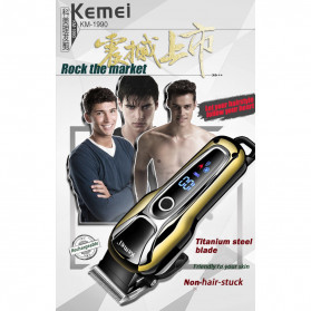 Kemei Alat Cukur Elektrik Hair Trimmer Shaver Rechargeable - KM-1990 - Golden - 7