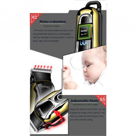 Kemei Alat Cukur Elektrik Hair Trimmer Shaver Rechargeable - KM-1990 - Golden - 9
