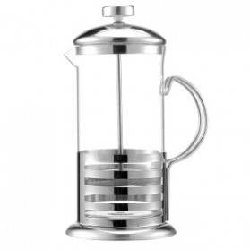 Duolvqi French Press Manual Coffee Maker Pot Stripe Pattern 600ml - KG72I - Silver