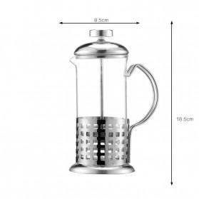 Duolvqi French Press Manual Coffee Maker Pot Stripe Pattern 600ml - KG72I - Silver - 7