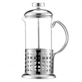 Duolvqi French Press Manual Coffee Maker Pot Grid Pattern 600ml - KG72I - Silver