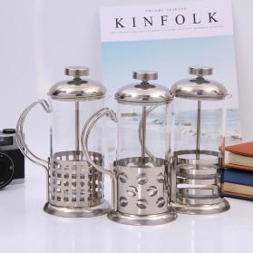 Duolvqi French Press Manual Coffee Maker Pot Grid Pattern 600ml - KG72I - Silver - 2